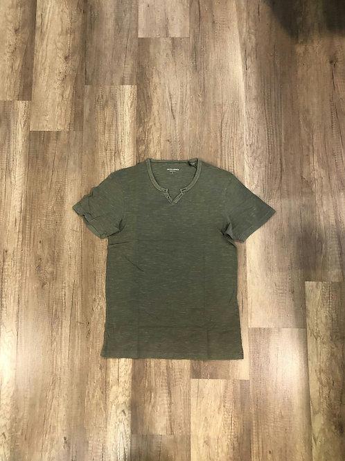 T-shirt serafino Jack e Jones Verde Militare