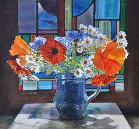 Summer flowers & stained glass Oil on pa
