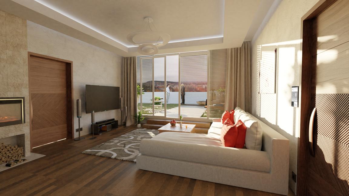 Rezidencia Kalvárka | Vizualizácia obývačka