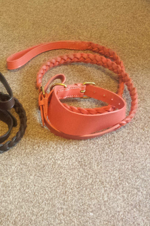 Leather braided collar and lead in salmon pink