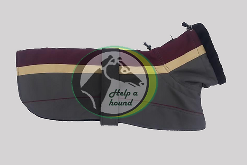 Copy of Striped padded waterproof dog coat blue maroon