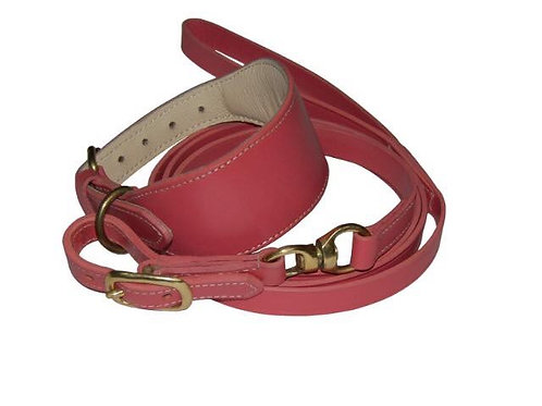 Padded leather swivel collar in red