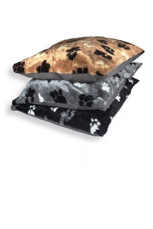 Paw print plush bed