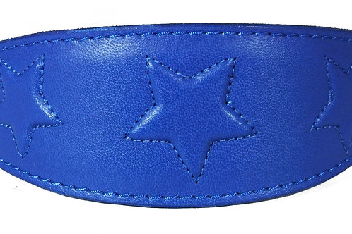 Embossed Star Stitch Design Leather Wholesale Whippet Greyhound Collar