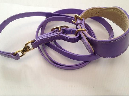 Padded leather swivel collar in purple