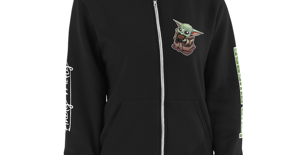 """ANDY MCFLY BABY YODA """"JAVA PWEASE"""" EXCLUSIVE Zip-Up Hoodie sweater"""