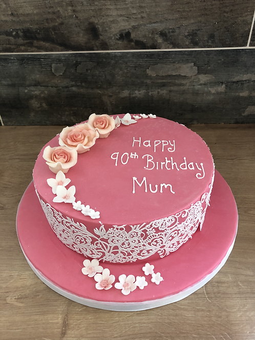 Lace and roses birthday cake