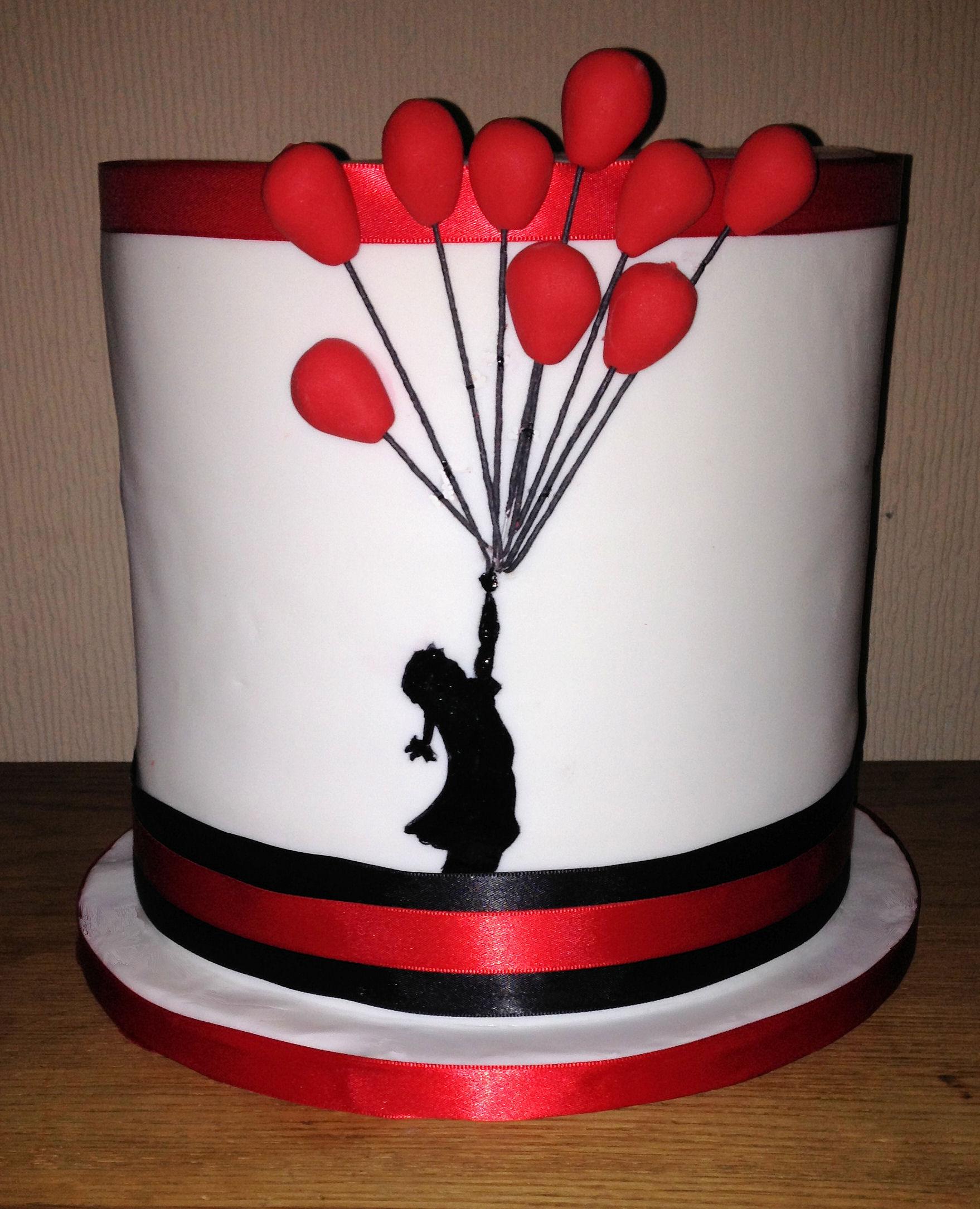 balloon themed wedding cake