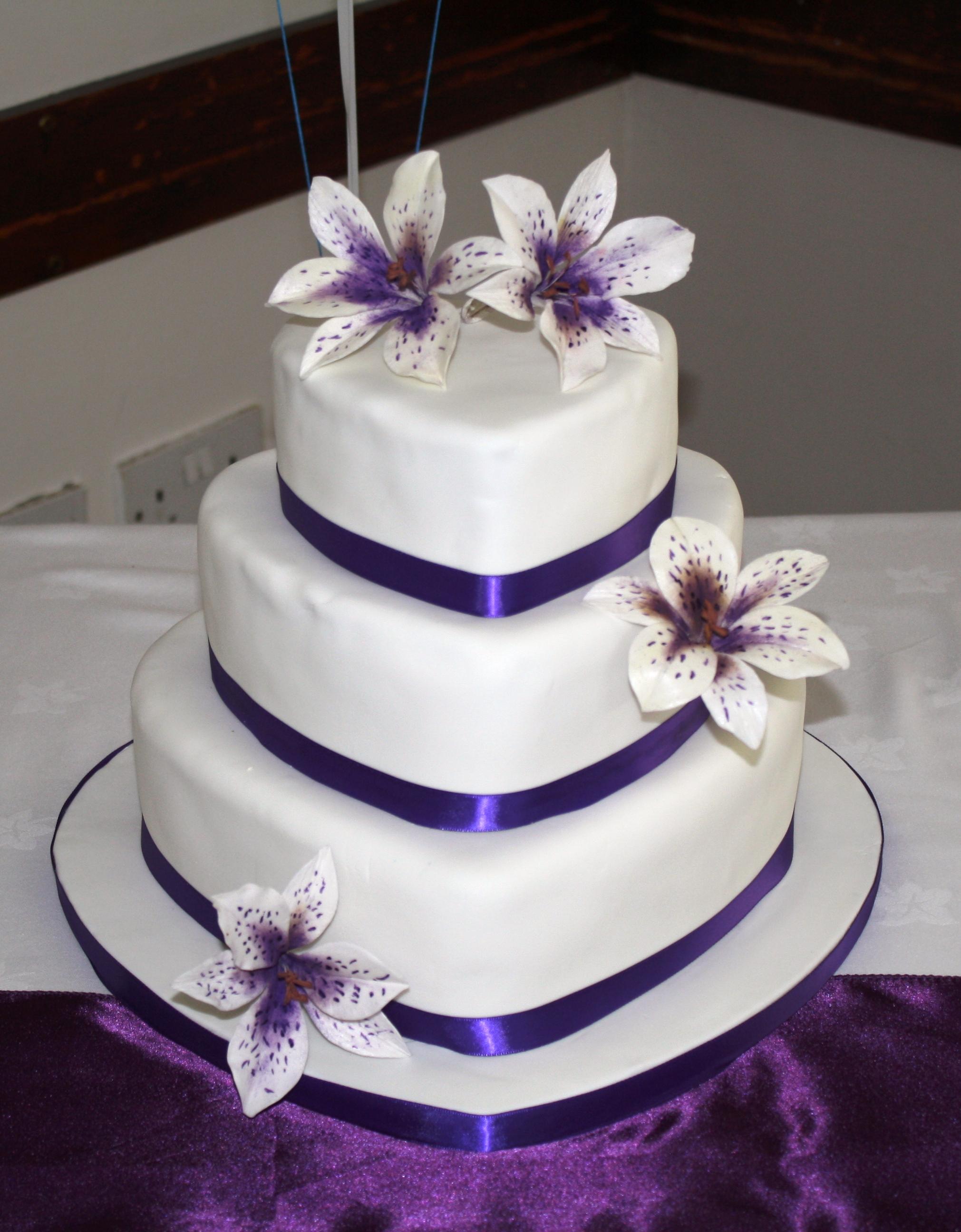 Purple Heart Wedding Cake