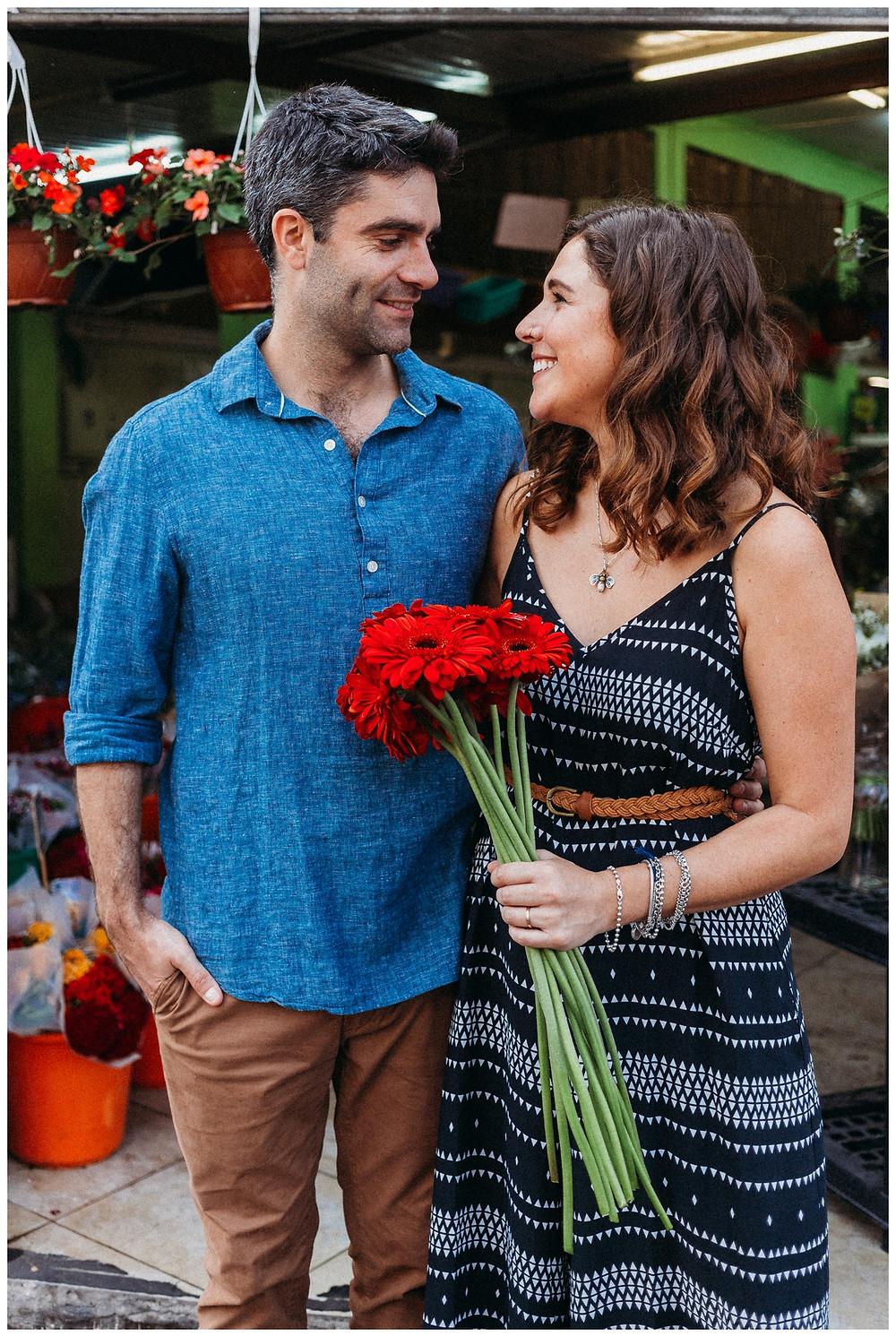Couple at flower shop in Carmel Market Tel Aviv
