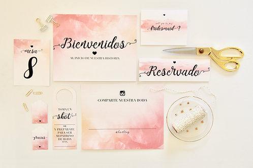 Acuarela Rosa Wedding Kit