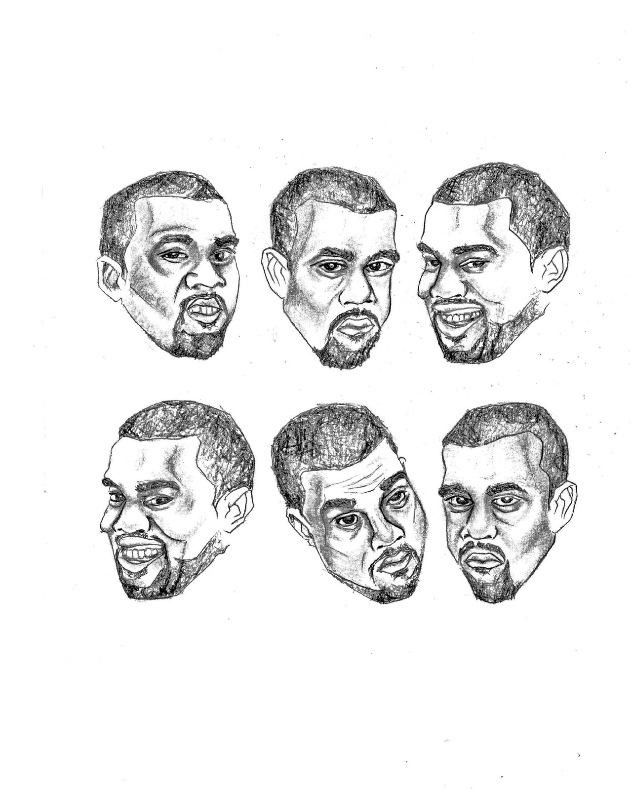 marnisa slay illustrations designs portfolio Kanye West 2014 a pull out sketch of kanye west from picture book pop style graphite on mixed media paper