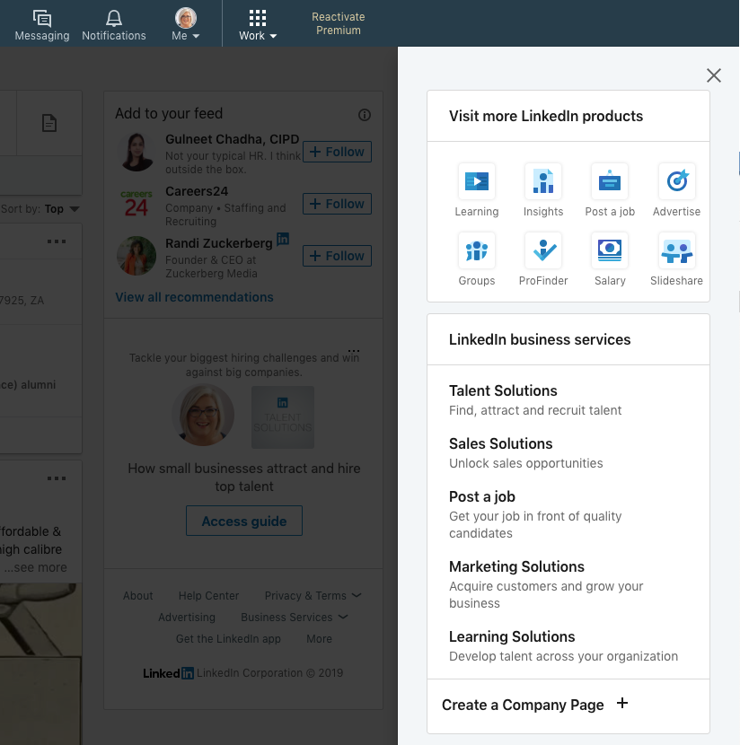 Set up a LinkedIn business page