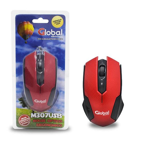 Mouse Optico USB rojo y negro