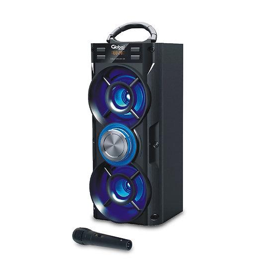 Parlante Inalámbrico Karaoke  Torre Doble con luces LED y Microfono- Azul