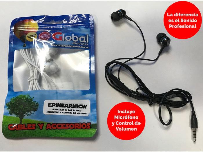 Auricular IN EAR Negro con Micrófono