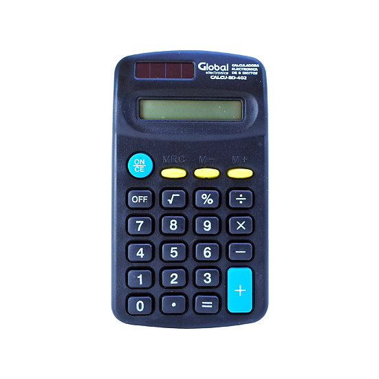 Calculadora de 8 Dígitos Plástica 402 Negra de Bolsillo