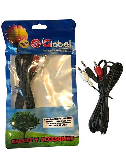 Cable de Audio Jack 3.5mm a 2 RCA Roja/Negra - 2 mts