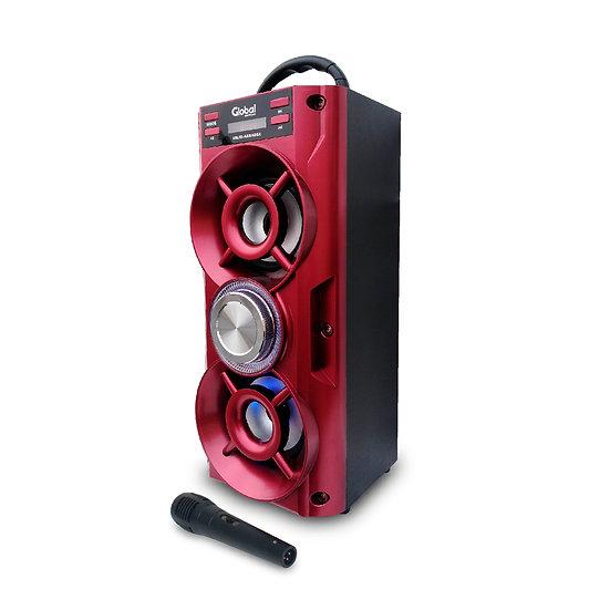Parlante Inalámbrico Karaoke  Torre Doble con luces LED y Microfono- Rojo