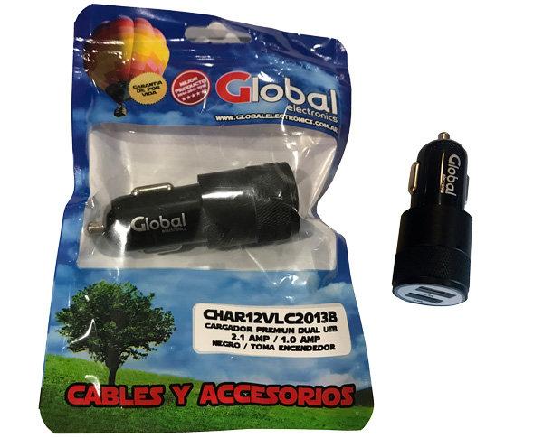 Cargador 12 Volts para Auto tipo Bullet con 2 USB - Negro