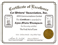 Cat Writers Association Certificate of Excellence