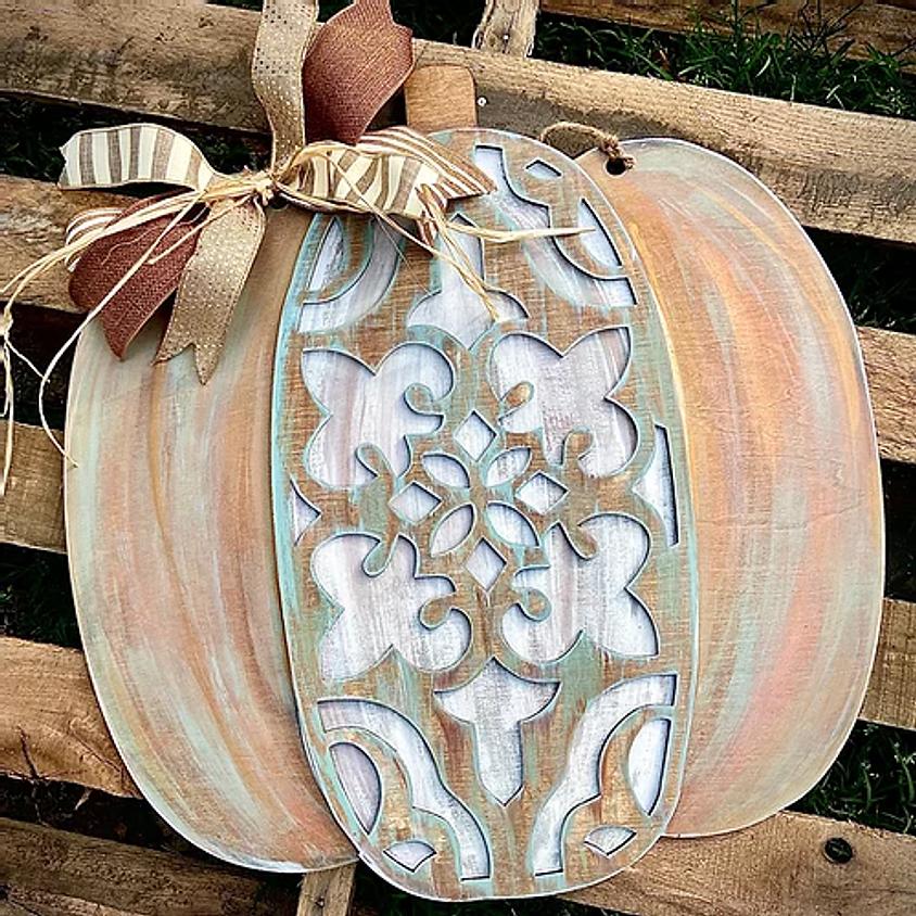 "Ornate Pumpkin Wood Hanger (22"" diameter)"
