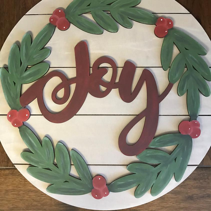 """Joy Wreath 22"""" Wooden Hanger"""