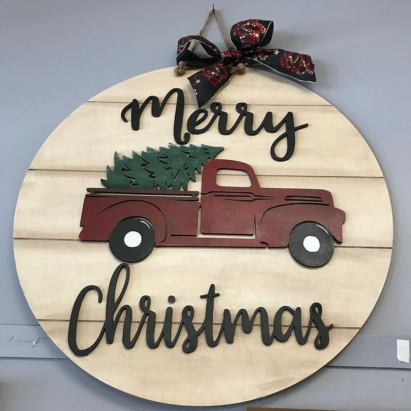 "22"" Christmas Truck Wood Hanger"