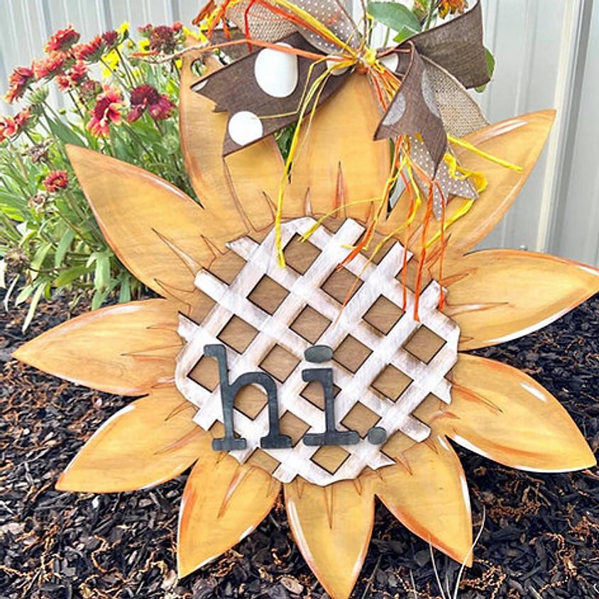 """Lattice Sunflower Hi Sign (22 """" Diameter)"""