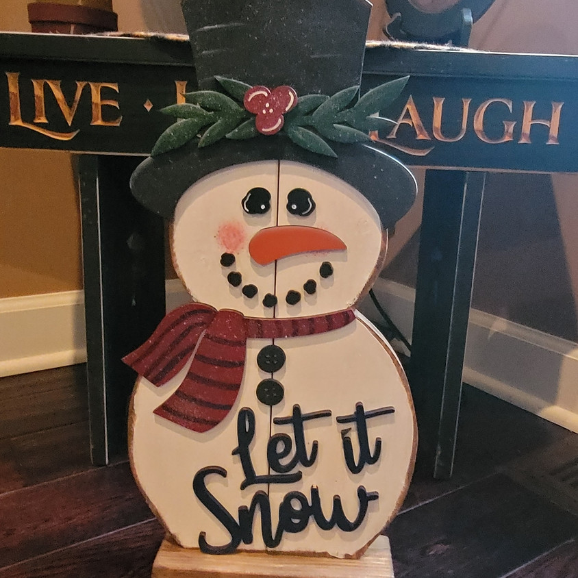 """STAND-UP 19"""" WOOD SNOWMAN"""