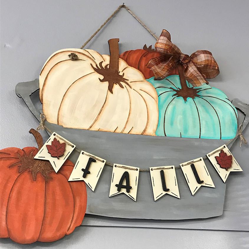 """Fall Bucket of Pumpkins 22"""" Hanger"""