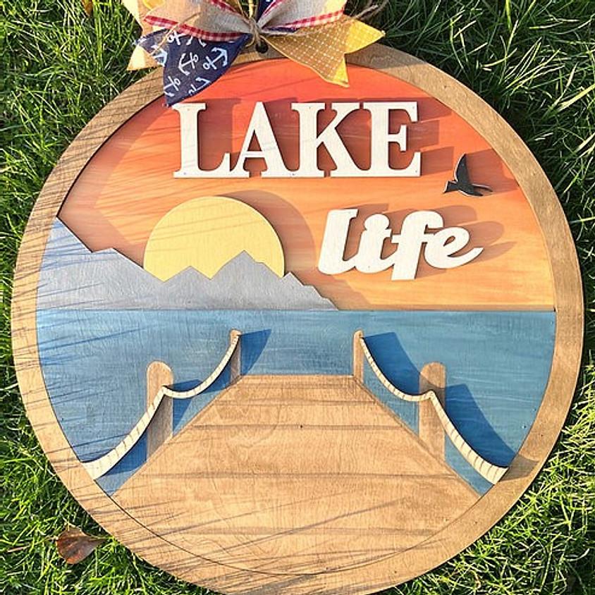Lake Round Sign