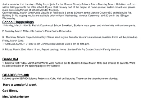 Mrs. W. weekly note 3/17/19