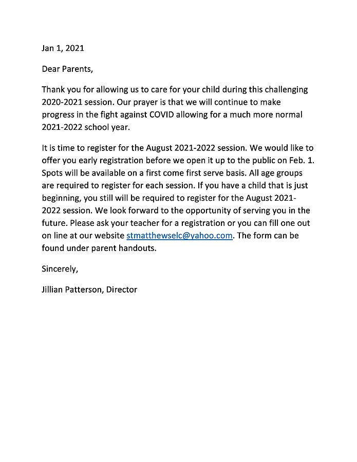 2021-2022 registration parent letter-pag