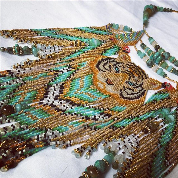 yara suma kallay beadwork tiger guacamayo boa yage