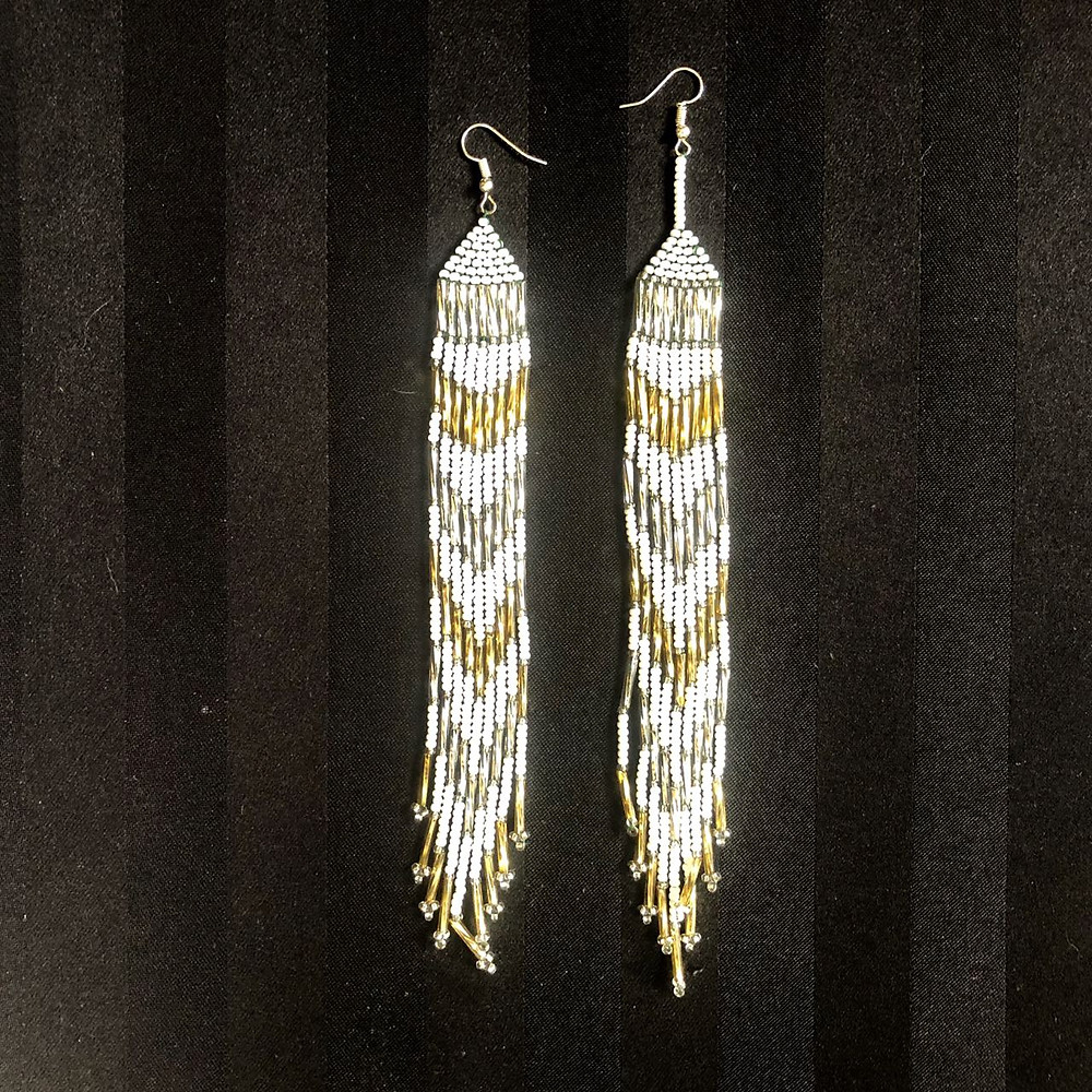 earrings beaded gold and silver
