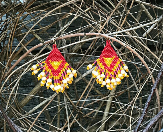 Seed craft beadwork earrings