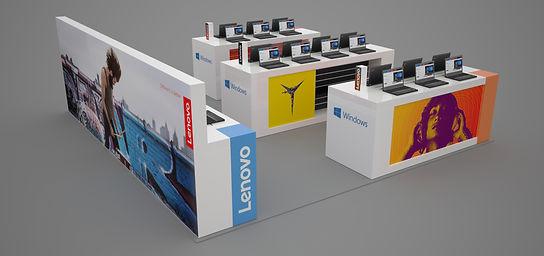 Lenovo - shop-in-shop osaston suunnittelu ja esityskuvat