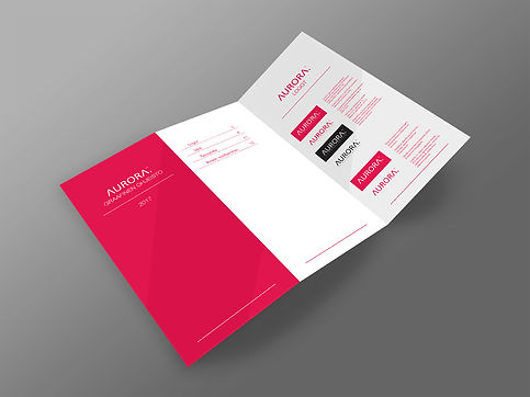 Aurora groupin logo, yritysilme ja ohjeistuksen suunnittelu