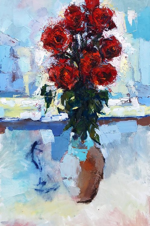 Red Roses in a Clay Jar