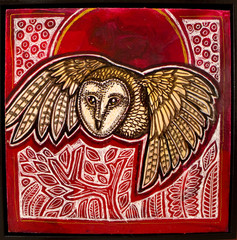 Owl and Red Moon