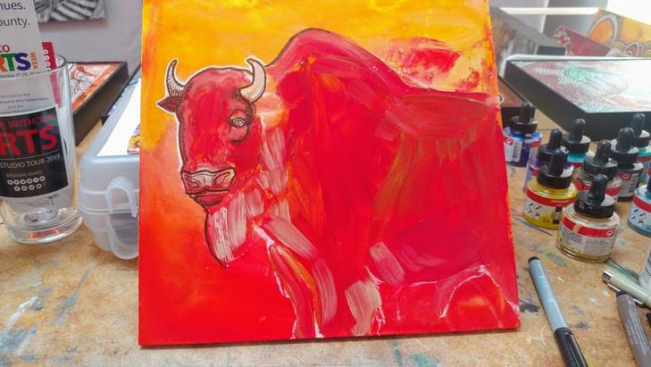 Bison at Sunrise (work in progress photo)