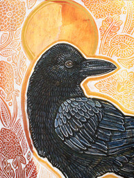 Golden Field with Raven