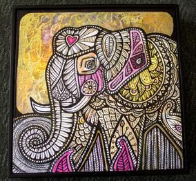 Gold Sky and Elephant