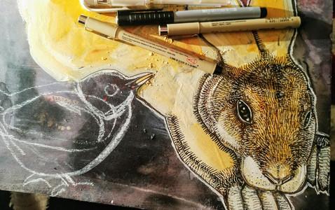 A Little Bird Told Me (work in progress detail)