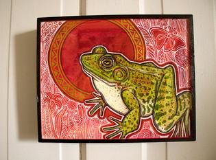 Green Frog, Red-Orange Sky