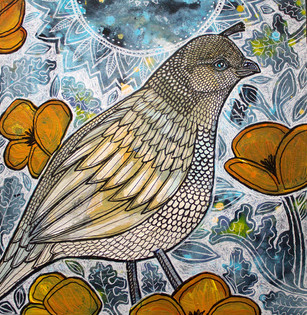 Quail Pair with Poppies