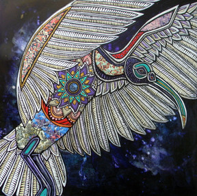 Sacred Ibis and the Cosmic Egg (Left Panel)