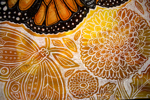 Monarch and Chrysanthemums