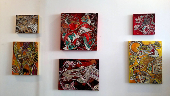 abstract horse folk art
